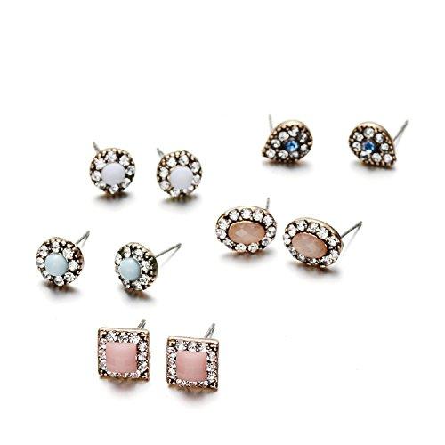 2dadadd060fc Onnea 5 Pares Set Pendientes Colores Cristales para Niñas Mujer Joyas  Antialergicos Nuevo