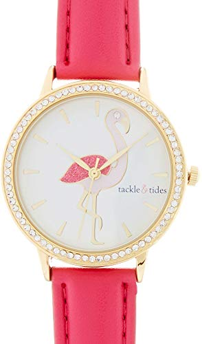Tackle & Tides Womens Pink Flamingo Strap Watch Pink/Gold Tone