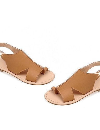 ShangYi Women's Shoes Leatherette Flat Heel Toe Ring Sandals Dress / Casual Black / Yellow Yellow fBqe70