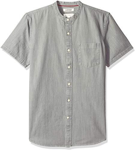 (Goodthreads Men's Standard-Fit Short-Sleeve Band-Collar Denim Shirt, -washed grey, Medium)