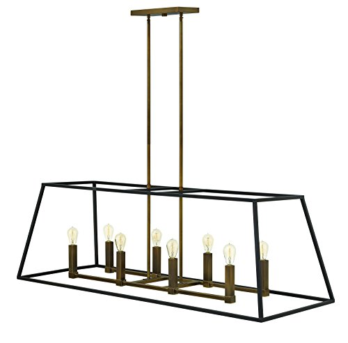 Hinkley 3338BZ Restoration Eight Light Stem Hung Linear from Fulton collection in - Hinkley Contemporary Chandelier Lighting