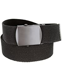 """Military Style Canvas Web Belt Black Buckle/Tip Solid Color 48"""" Long 1-1/2"""" Wide"""