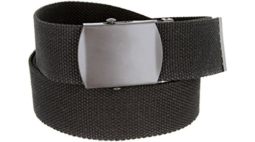 Military Style Canvas Web Belt Black Buckle/Tip Solid Color 48