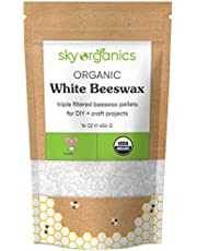 Organic White Beeswax Pellets (1lb) by Sky Organics 100% Pure USDA Organic Bees Wax Pesticide-free Triple Filtered, Easy Melt Beeswax Pastilles for DIY Candles Skin Care Lip Balm