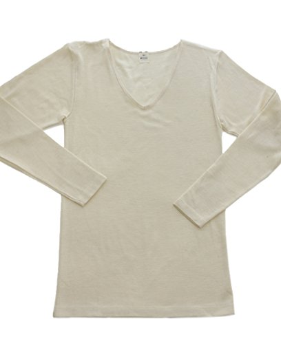 Wool Long Natural (Hocosa Women's Long-Underwear Shirt, Long Sleeve, V-neck, Organic Wool-Silk, Natural White, s. 44/US 14)