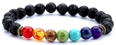 Hamoery Men Women 8mm Lava Rock 7 Chakras Diffuser Bracelet Elastic Natural Stone Yoga Beads Bracelet Bangle