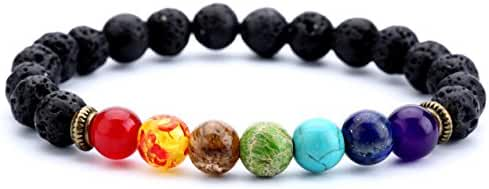 Hamoery Men Women 8mm Lava Rock 7 Chakras Beads Bracelet Elastic Natural Stone Yoga Bracelet Bangle