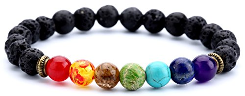 Hamoery Men Women 8mm Lava Rock Chakra Beads Bracelet Elastic Natural Stone Yoga Bracelet Bangle(Lava Chakra)