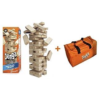 Jenga GIANT Genuine (Stacks to over 4 feet) Precision-Crafted Premium Hardwood Game + Carry Bag (Authentic Jenga Brand Game)