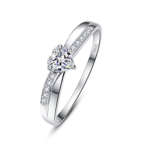 AVECON Women's Heart Cut AAA White CZ Solitaire Promise Ring for Her 925 Sterling Silver Band Size ()