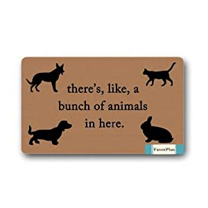 FavorPlus There's, Like, A Bunch of Animals in Here. Indoor/Outdoor Decor Rug Doormat 30(L) X18(W) Inch Non-Slip Home Decor