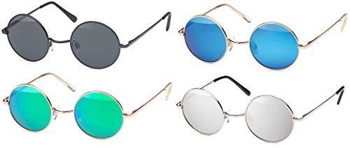 Sonnenbrille mit runden Gläsern und schmalem Metall Gestell, Bügel mit Federscharnier (Silver-Silver)