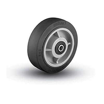 "(1) Colson 6"" x 2"" Soft Rubber Wheel with 1/2"" ID Needle Bearing Black Tread"