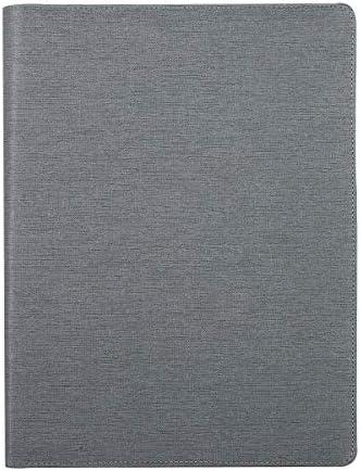 Leathario A4 Schreibmappe Portfolio Konferenzmappe mit 8-bit-Rechner grau