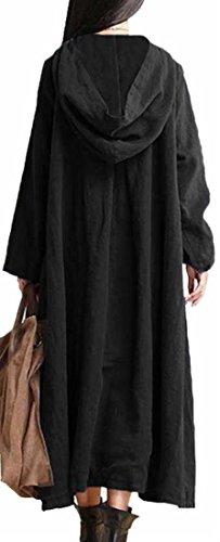 Hoodie Long Dress Sleeve Cotton Linen Black Womens Jaycargogo Casual Pocket Maxi 0qHSHB