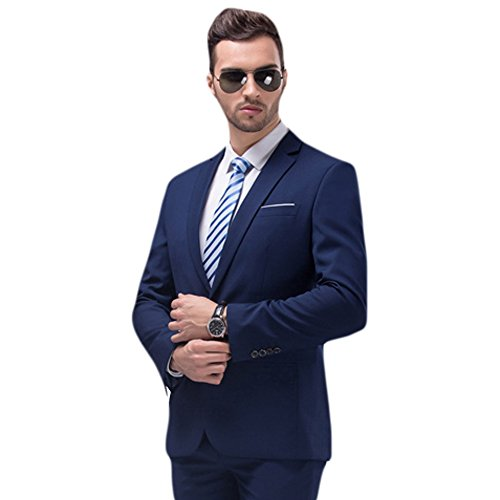 WULFUL Men's Suit Blazer Slim Fit One Button Casual Formal Suit Jacket Wedding Tuxedo by WULFUL (Image #3)