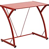 Flash Furniture Contemporary Tempered Glass Computer Desk with Matching Frame, Red