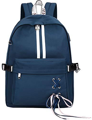 El-fmly Cute Backpack School Bookbag Laptop USB Charging Port Rucksack Shoulder Earphone Hole Travel Blue Bag for Girl Teen Boy