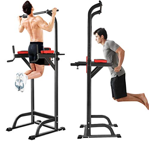 Jaketen Power Tower, Heavy Duty Pull Up Dip Station,Adjustable Strength Power Tower Fitness Workout Exercise Machine US Stock