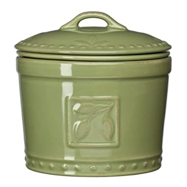 Signature Housewares Sorrento Collection Stoneware Dip Chiller, Green Antiqued Finish