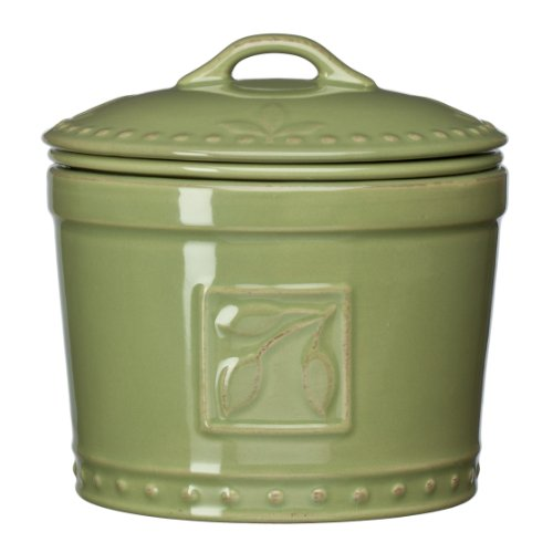 Signature Housewares Sorrento Collection Stoneware Dip Chiller, Green Antiqued (Antiqued Green Italian Ceramic)