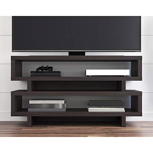 HnG Open TV Stand up to 55'' and 135lbs, Modern Cabinet for Television Accessories Console Games Books Speakers, Living Room Furniture, Espresso Brown Finish - Open Entertainment Console 55'