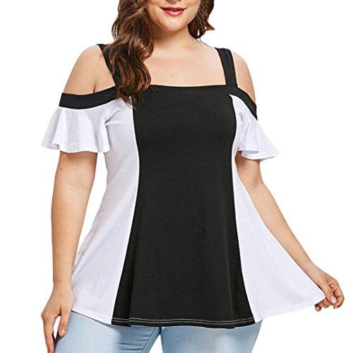 GOVOW Women Plus Size Hit Color Open Shoulder Patchwork T-Shirt Tops Blouse