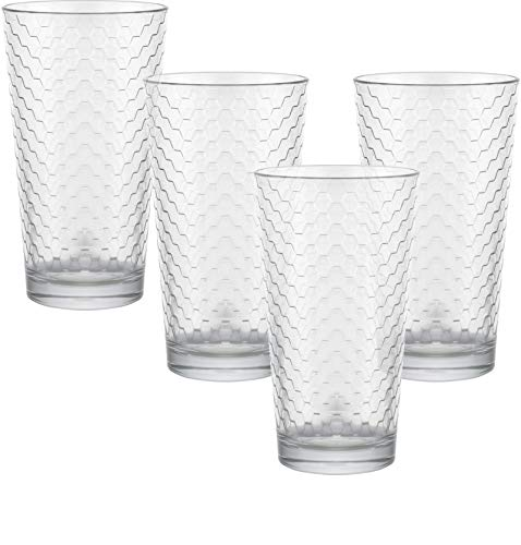Circleware 40140 Paragon Honeycomb Set of 4 Heavy Base Highball Drinking Glasses Tumblers Ice Tea Beverage Cups Glassware for Water, Juice, Beer and Bar Decor Gift, 15.7 oz, 4pc