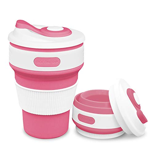 ROCONTRIP Silicone Collapsible Cup Convenient Travel Coffee Mug Lightweight Food Grade Silicone & PP BPA Free for Camping Hiking Outdoor Commuters (Cherry Red)