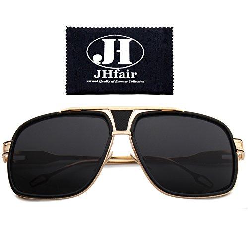 JHfair Designer Square Aviator Fashion Sunglasses For Men or Women Brand - Wayfarer Heads Style For Big Sunglasses