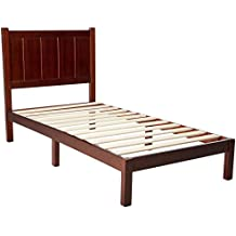 Zinus Wood Rustic Style Platform Bed with Headboard / No Box Spring Needed / Wood Slat Support, Twin