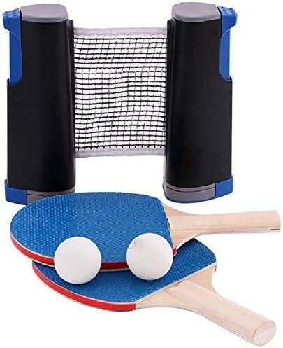 インスタント卓球セット2卓球バット2ボール1格納式ネット、キッズ大人学校のホームオフィス向け屋内屋外ゲーム