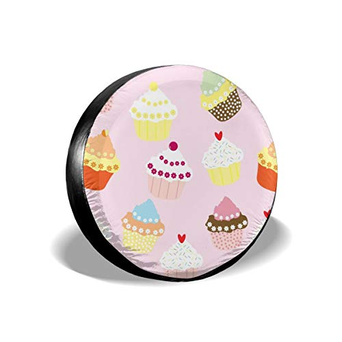 Uktly Waterproof Spare Tire Cover Cup Cakes Pattern Universal Sun Protector Dust - Proof Wheel Covers for Jeep, Trailer, RV, SUV, Truck and Other Vehicle, Fits 24