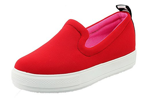 Allhqfashion Mujeres Fabric Solid Pull-on Redondo-toe Low-heels Bombas-zapatos Rojo
