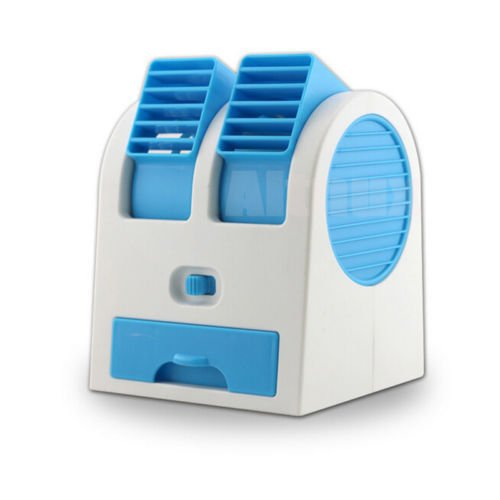 EE Mini Small Fan Cooling Portable Desktop Dual Bladeless Blue Air Conditioner USB NEW