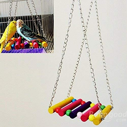 Price comparison product image C&C Products Wood Parrot Parakeet Budgie Cockatiel Cage Hammock Toys Bird Swing Hanging