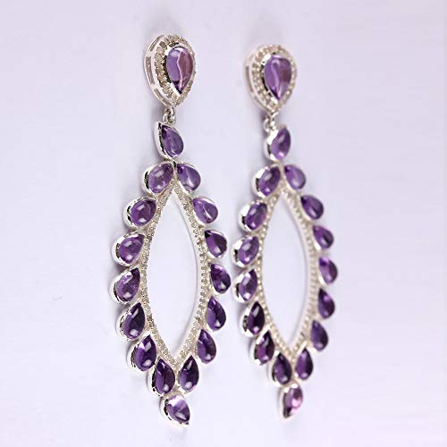 White Rhodium Genuine 16.04 Ct. Amethyst Gemstone Designer Dangle Earrings Pave Diamond Solid 925 Sterling Silver Jewelry Thanksgiving Day Gift