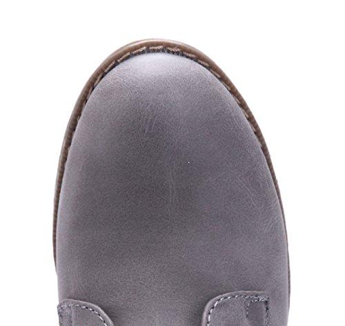 Schuhtempel24 Damen Schuhe Klassische Stiefeletten Stiefel Boots Blockabsatz 3 cm Grau