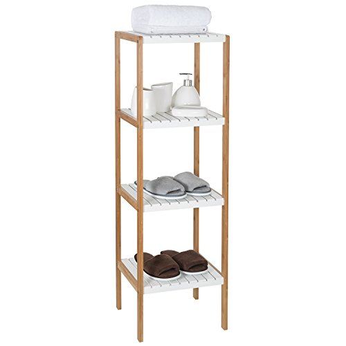 Olive Bamboo Bathroom Corner Shelf 4 Tier Free Standing Shelve Unit Towel Organizer Plant Flower Display Stand