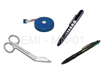EMI Nurse 4 piece Kit MN-01: Tape Measure + Pupil Gauge Penlight + Lister Bandage Scissor + Chart Pen