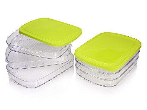 Bluespoon Aufschnittdosen Set aus Kunststoff 8 teilig   Luftdichte Aufbewahrung Ihres Aufschnitts in diesen Kühlschrankdosen   Halten Sie Ihren Aufschnitt länger frisch