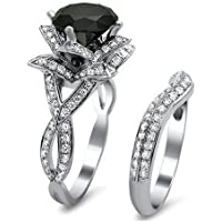 Women Chic 925 Silver Black Sapphire & White Topaz Ring Wedding Jewelry Set New (7)