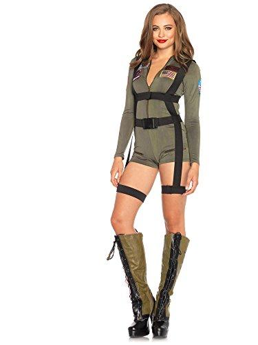 Leg Avenue Women's Top Gun Romper Costume, Khaki, Medium