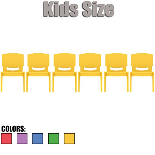 2xhome - Set of Six (6) - Yellow - Kids Size Plastic Side Chair 12'' Seat Height Yellow Childs Chair Childrens Room School Chairs No Arm Arms Armless Molded Plastic Seat Stackable by 2xhome