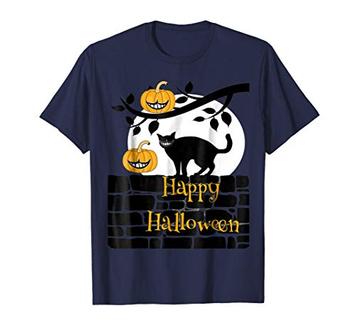 Happy Halloween black cat and pumpkins with Cheshire grins for $<!--$14.99-->