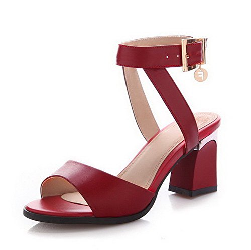 s Buckle High Heels Cow Leather Solid Open-Toe Sandals, Red, 38 ()