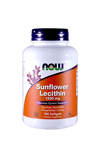 Now Foods Sunflower Lecithin Non-GMO, 1200mg, 100 Sgels (2 Pack)