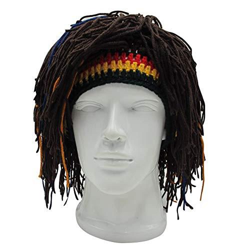 DFSanaShanao Adult Unisex Rasta Wig Beanie Hat Jamaica Rasta Handmade Knit Cap Reggae Dreadlocks Novel Funny Gift Crochet Cap (Dark -