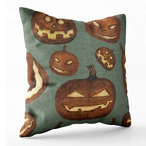 Douecish Pillow Covers, Household Cushion Soft Home Sofa Decorative Throw Pillow Cases Watercolor Carved Pumpkin Scary Lanterns Pattern Halloween Horror Stylized Double Printed 20X20 inches ()