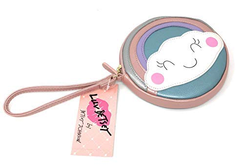 Luv Betsey Johnson Coin Purse Pink Blue Rainbow Cloud Face Wristlet ()